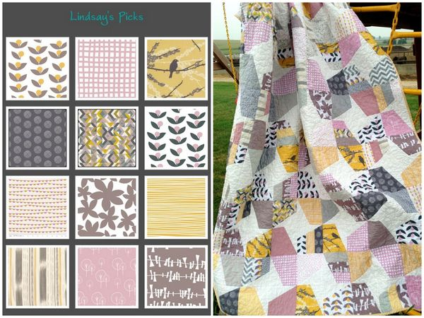 Mustard Pink Gray Slate Picks and Quilt