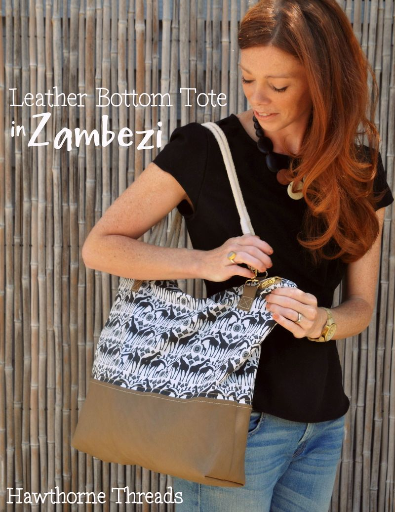 Leather Bottom Tote in Zambezi