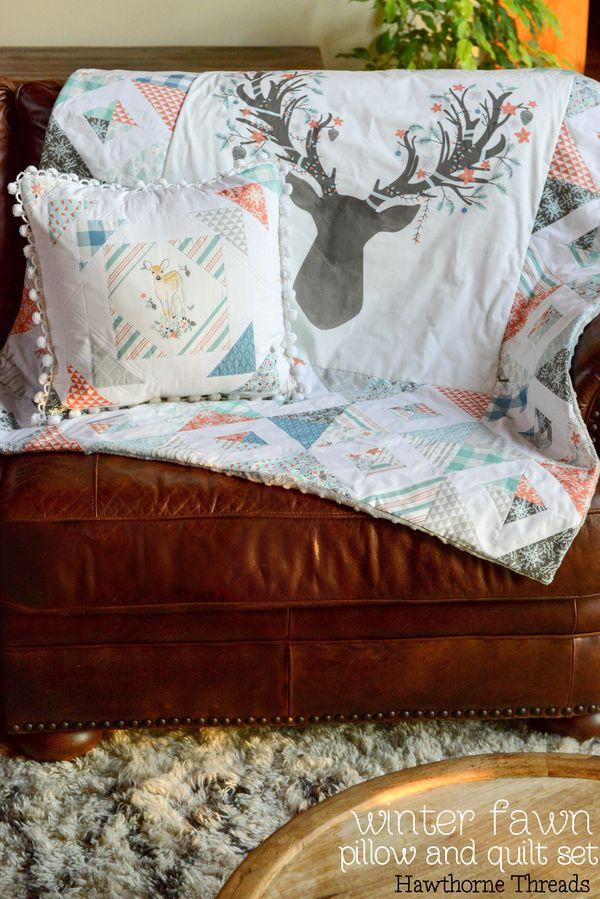 Winter Fawn Patchwork Pillow and Quilt Set - Hawthorne Threads Blog : pillow and quilt - Adamdwight.com