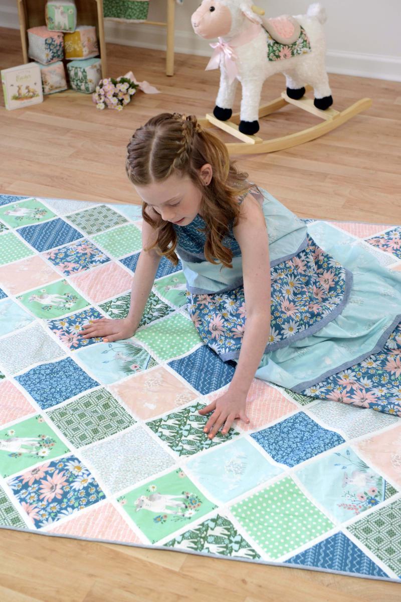 Lamb Fabric Quilt in Morning Dew
