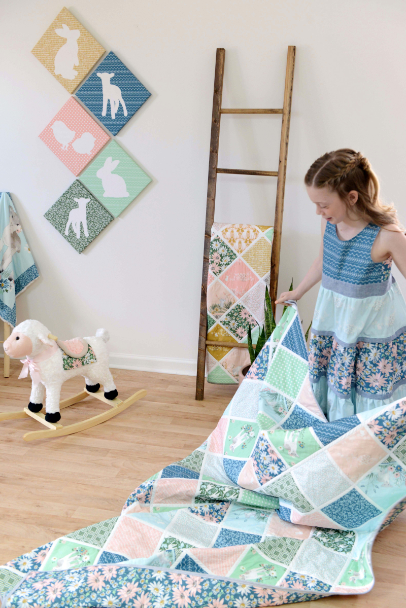 Lamb Fabric Quilt and Easter Dress