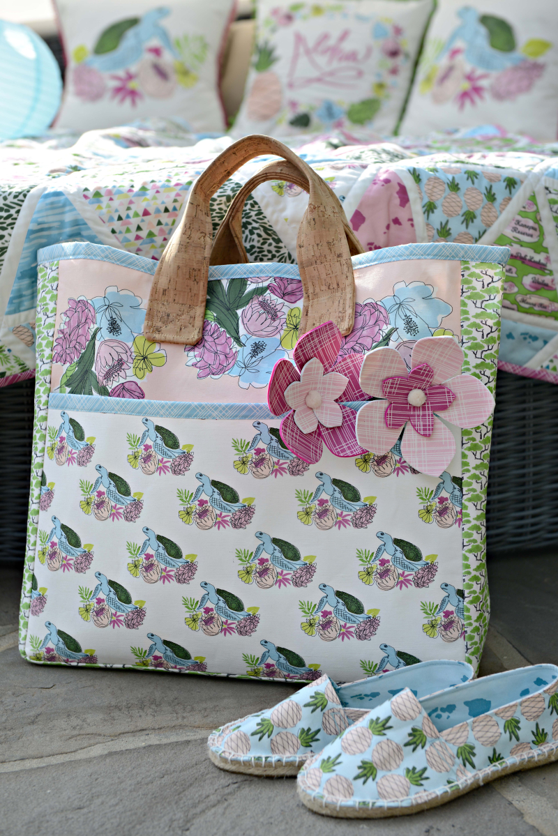 Aloha Fabric Sewing inspiration Boxcar Tote and Espadrilles