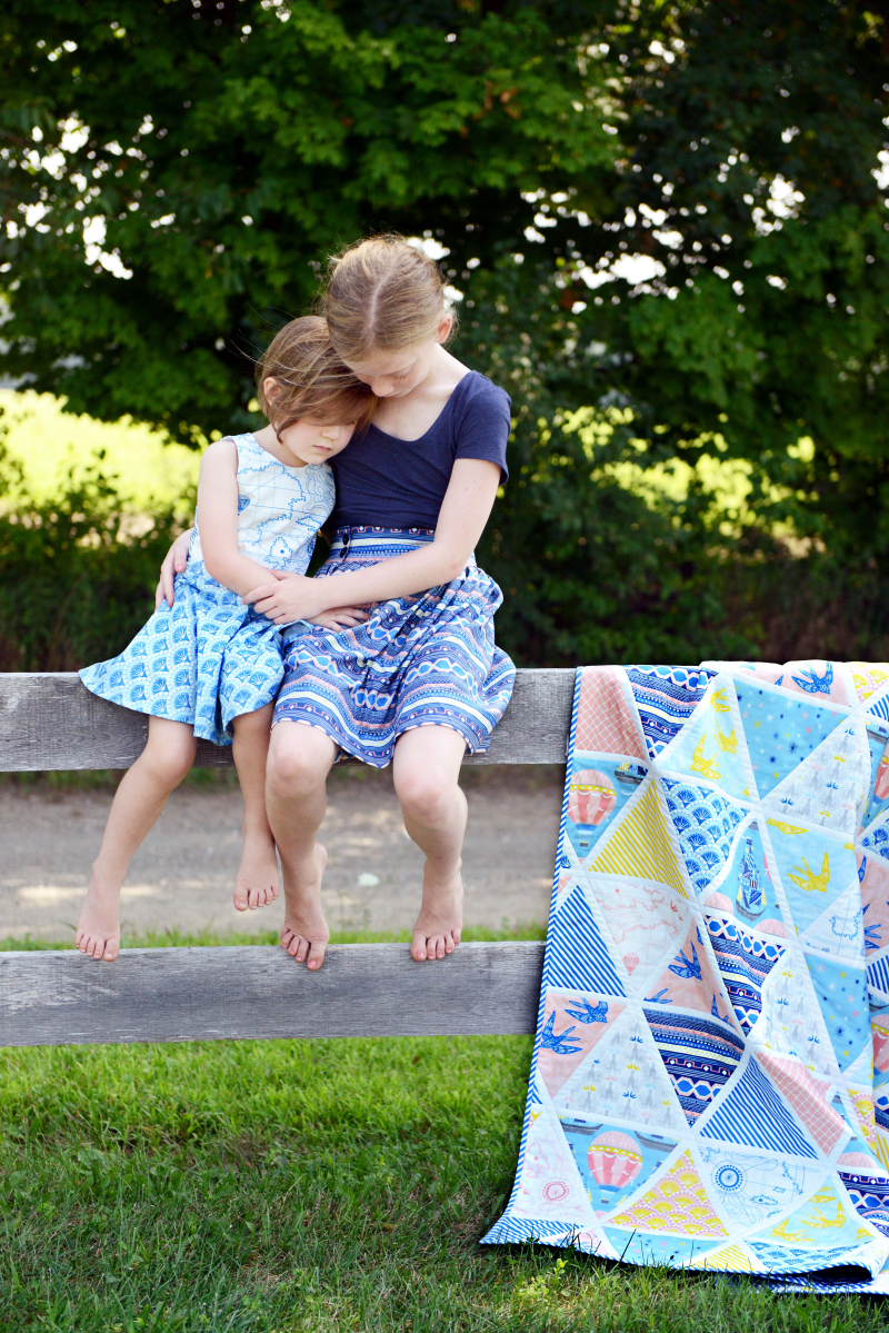 Voyager Fabric Girls Ayda Dress Everyday Skirt and Quilt