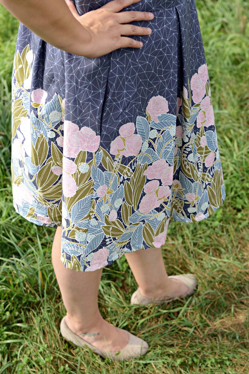 Moonlit Fabric Rue Dress Double Border Print