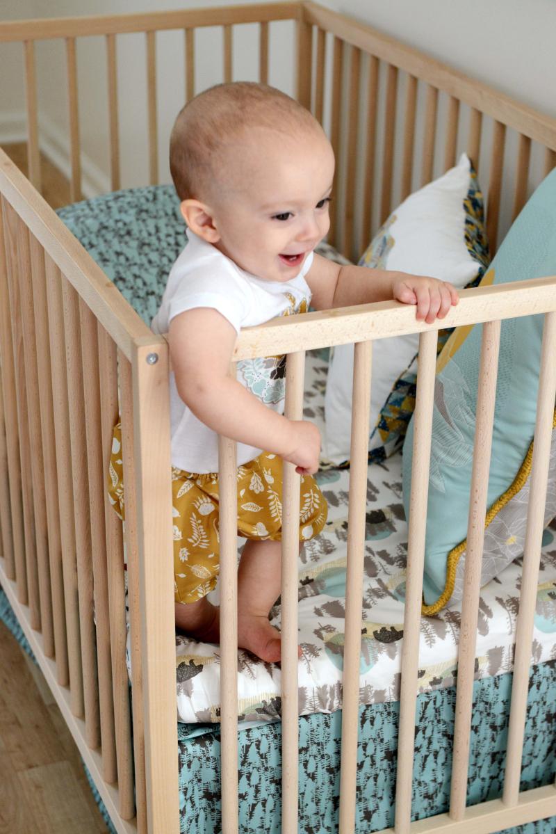 Redwood Fabric Baby Crib