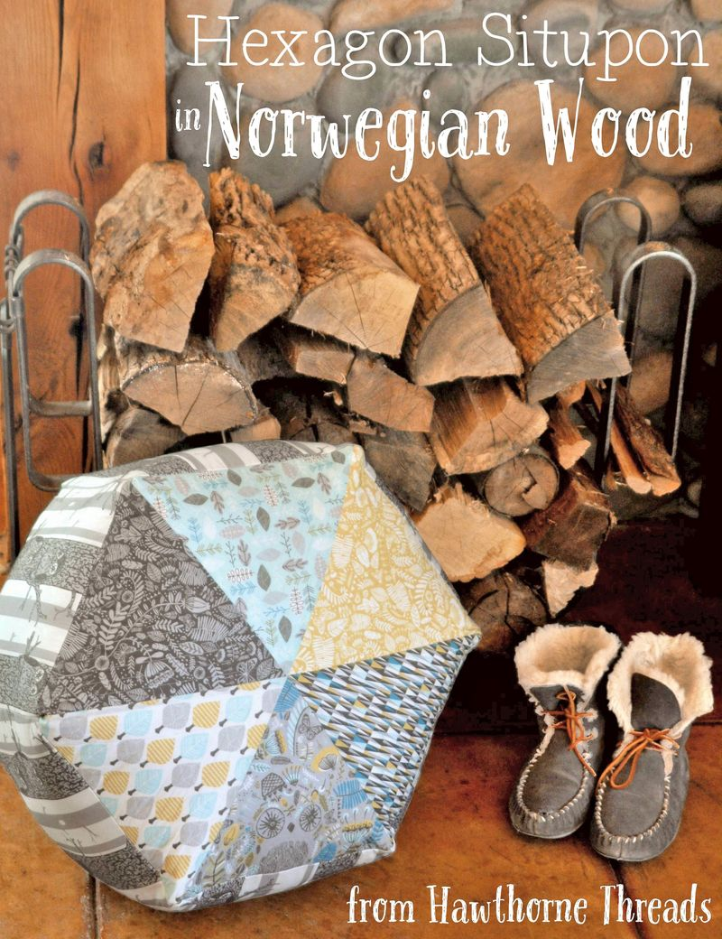 Hexagon Situpon in Norwegian Wood Fabric b