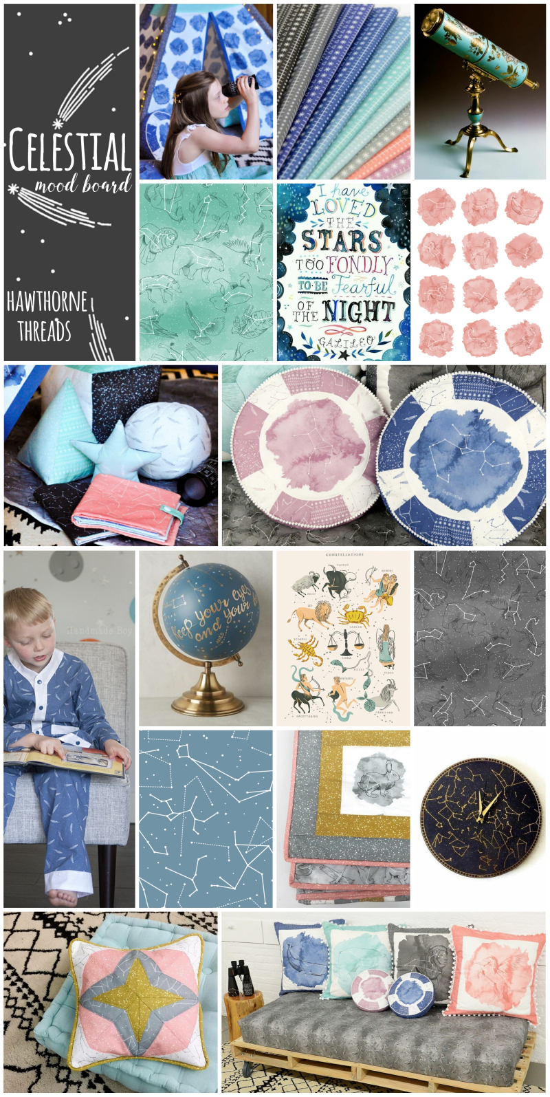 Celestial Fabric Mood Board
