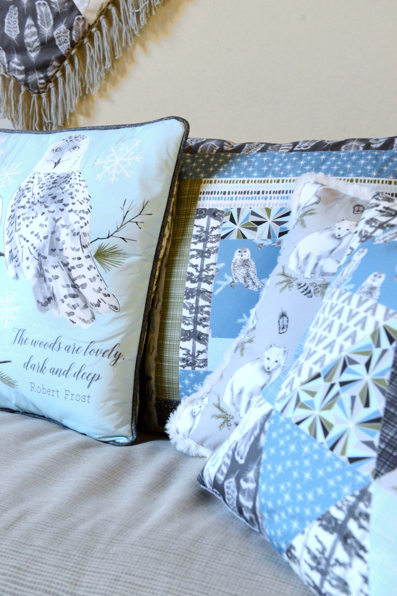 Tundra Fabric Winter Freeze Patchwork Pillows