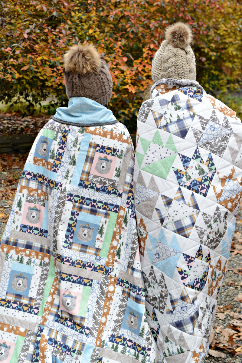 Hawthorne Supply Co Mountain Road Trip Fabric Sew To Grow Pajama Photo Log Cabin and Bear Paw Quilt